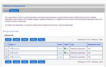 WebLogic Deployment Page
