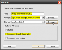 The New Class dialog