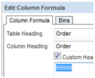 Order Column 99999