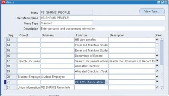 Step6 – Using the System Administration responsibility Query back menu US SHRMS menu add function PO CONTINGENT WORKER Association Page