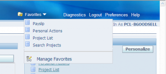 New Favorites drop-down (populated)